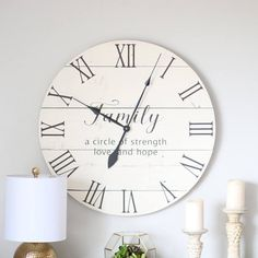 Large wall clock - Farmhouse wall decor - Off white - Gift for mom from family - Strength love hope - Emma family Rustic Wall Clocks, Farmhouse Wall Clocks, Wood Clocks, Rustic Walls, Big Wall Clocks, Antique Clocks, Family Clock, Family Family, Pallet Clock