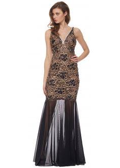 Baccio Zara Black & Gold Crystal Painted Mesh Long Evening Dress