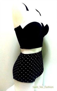 50s Vintage Retro High Waist Bikini Polka dot Navy Blue Top Vest Bottom MD- NWOT