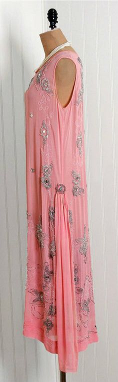 1920's Baby-Pink Beaded Jeweled Crepe Chiffon Flapper Dress