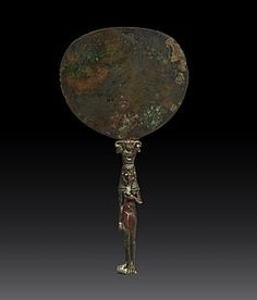 An Egyptian mirror Bronze Height 25.2 cm Egypt, New Kingdom, early to mid 18th Dynasty Kingdom, circa 1550-1425 BC To be exhibited at #TEFAF2016 (11-20 March 2016) #ClassicalAntiquities by Galerie Cybele.