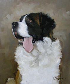 Original oil painting - portrait of a saint st bernard dog
