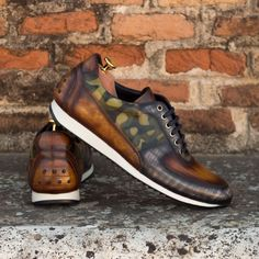 Custom Made Joggers in Italian Raw Crust Leather with a Khaki Camo, Grey and Cognac Hand Patina From Robert August. Create your own custom designed shoes. Custom Made Shoes, Custom Design Shoes, Design Your Own Shoes, Penny Loafer, Italian Style, Oxfords, Luxury Lifestyle, Calf Leather, Dress Shoes
