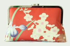 Floral Pink Clutch Purse With Plum Blossom by SimplySilkScarves