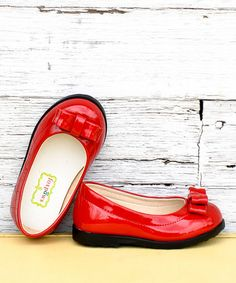 Take a look at this Red Patent Bow Ballet Flat by foxpaws on #zulily today!
