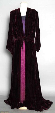 ~SILK VELVET HOSTESS GOWN, 1940s Burgundy w/ purple fringed belt  matching purple satin underskirt~