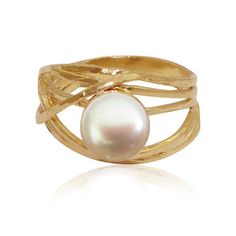Pearl Ring 9ct gold ring gift for her june by myartisanstore
