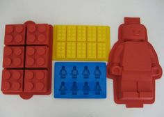 Silicone Lego Minifigure cake and Ice tray & brick cake ice tray candy soap cupcake mold birthday party favors set of 4 molds