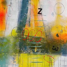 Sailing Abstract original Contemporary Bold Minimalist Small Square Acrylic Painting with typography on Canvas by JJ Jacobs