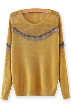 Chain Embellished Round Neck Long Sleeves Sweater