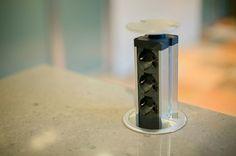 Great idea for hiding a plugin on the kitchen counter! Minimalist loft high-tech elements by Mariya Vasilenko