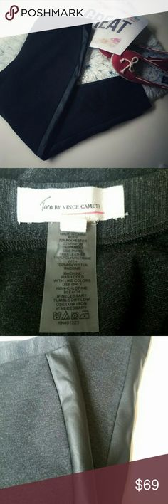 🎄HOLIDAY SALE VINCE CAMUTO FAUX LEATHER LEGGINGS NWOT TURO BY VINCE CAMUTO FAUX LEATHER LEGGINGS size LP so if u areca tall person it will not fit you they will be capri pants on a taller person it is a petite large the color is heather black Free shipping Vince Camuto Pants Leggings