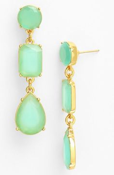 Adore the mix of mint and gold on these Kate Spade linear earrings.