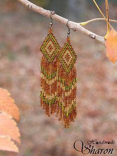 Extra long indian summer earrings, autumn tones, bead embroidery, handmade jewellery