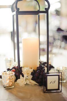 California Wedding Style ~ wrought iron lantern centerpieces with gardenias