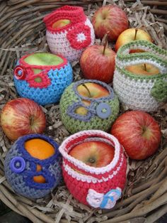 crochet fruit cosies in basket --- Loved this project! The fruit cosy was a very quick project and the pattern was simple to follow. No more bruised fruit for me!