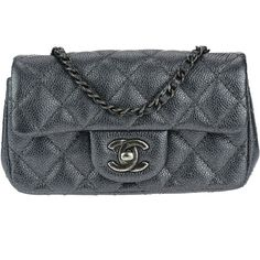 Pre-owned Chanel Metallic Dark Grey Caviar Rectangular Extra Mini Flap... ($2,650) ❤ liked on Polyvore featuring bags, handbags, shoulder bags, shoulder strap purses, leather crossbody purses, leather handbags, leather cross body purse and cross-body handbag