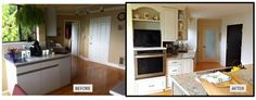 """Sometimes removing a window can produce a more functional """"After"""" as this design illustrates. Before After Kitchen, Great Rooms, Kitchens, Kitchen Cabinets, Windows, Design, Home Decor, Decoration Home, Room Decor"""