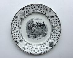 mustavalkoinen lautanen . halkasija 21.5cm