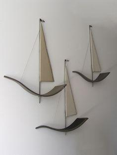Ceramic Wall Art, 3d Wall Art, Ceramic Clay, Wall Sculptures, Sculpture Art, Sailboat Art, Wooden Sailboat, Seaside Decor, Copper Art