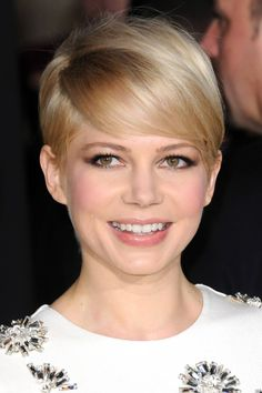 Michelle Williams. love the poof at the crown. 33 Pixie Hairstyles We Love In 2014 - Best Short Pixie Cut Ideas - Harper's BAZAAR