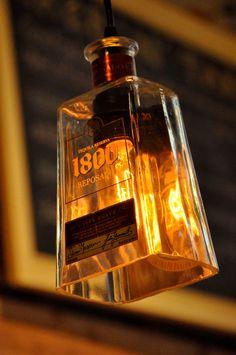 Recycled Bottle Pendant 1800 Tequila Hanging Bottle with Edison Lightbulb. $79.00, via Etsy.