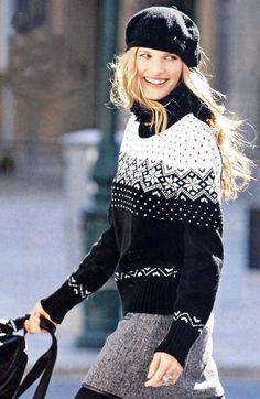 Knit sweater with jacquard pattern - Super knitting Fair Isle Knitting Patterns, Fair Isle Pattern, Knit Patterns, Knitting Charts, Clothing Patterns, Norwegian Knitting, Baby Sweaters, Sweater Outfits, Lana