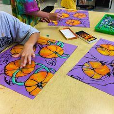 Grade Pumpkin Patches with black glue on purple paper. I like the purple a lot! Halloween Art Projects, Fall Art Projects, School Art Projects, Third Grade Art, 3rd Grade Art Lesson, October Art, Ecole Art, Pumpkin Art, Pumpkin Painting