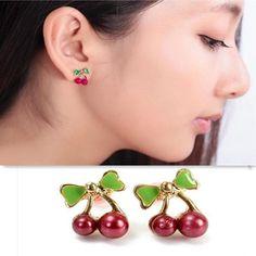 Retro small red cherry alloy stud earrings women jewelry 2 earrings in each ear #5mm #earrings #7 #carat #earrings #earrings #meme #initial #p #earrings