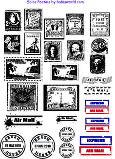 FREE Printable postage stamps.  If you have Photoshop you could play around with the colours and make them all completely different.