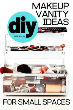 DIY Makeup Vanity Ideas for Small Spaces. Need to update or create a makeup vanity space in your bedroom or bathroom? Try out some of these creative DIY makeup vanity ideas for small spaces. Not only do they work in small spaces where you need them to, they also lend style and fashion to your favorite pampering space! Creating your very own DIY makeup vanity space represents a much more beautiful way of getting ready. Show off your artistry skills, and incorporate some of these DIY tips.
