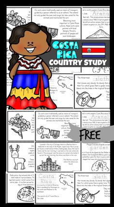 Teaching children about different countries and cultures is so much fun, especially when learning about animals, foods, ox and carts and Arenal volcano. These free printable books exploring Costa Rica Country for Kids are a great way to teach children in pre k, kindergarten, grade 1, grade 2, grade 3, grade 4, and grade 5 about these interesting people. These mini books would be great used as part of a unit study on Costa Rica, or as a way for children to practice their reading while learning Social Studies Worksheets, Worksheets For Kids, Teaching Social Studies, Fun Activities For Kids, Teaching Kids, Book Activities, Geography For Kids, Geography Activities, Germany For Kids
