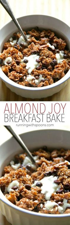 Almond Joy Breakfast Bake -- a soft and doughy oatmeal bake that combines the flavours of almonds, coconut, and chocolate in a healthy and delicious breakfast! Vegan and gluten-free. || runningwithspoons.com