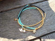 Stretchy Black and Gold Bracelet Mint Green Gold Hamsa Charm
