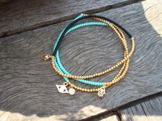 Stretchy Black and Gold Bracelet Mint Green Gold by cocolocca