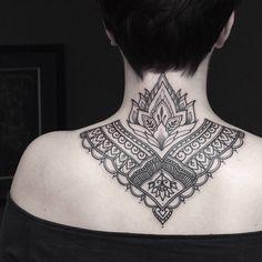 JULIE FUNK Backpiece Tattoo, Nape Tattoo, Throat Tattoo, Chest Tattoo, Girl Back Tattoos, Back Tattoo Women, Tattoos For Women, Finger Tattoos, Body Art Tattoos