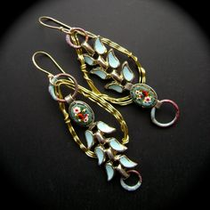 Venice Daydreams, assemblage earrings, micro mosaic jewelry, repurposed vintage, robin egg blue, torch fired enamel, hoop, AnvilArtifacts