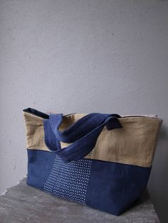 Cloth and sashimi collage bag with sashiko embroidery