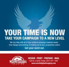 2016 is going to be a crucial year for politics. Get a head start on your political campaign this year! Whether it's for your campaign in March or in November we're here to help. Postcard Mailers Signs Handouts Doorhangers -- there are so many ways to reach your voters. Give us a call today.