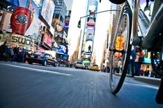 """For his project """"NYC By Bike,"""" photographer Tom Olesnevich attached a digital SLR to the rear of his bicycle to capture unique street-level views of the Big Apple."""