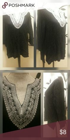Cathy Daniels top Black with white. Jewels on top around neck. 100% viscose. Made in India. Cathy Daniels  Tops Blouses