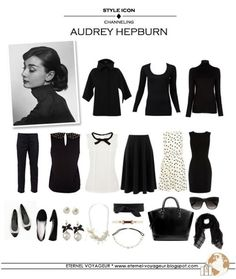 Audrey Hepburn Style - capsule wardrobe - black and white, classic easy work outfits Style Work, Mode Style, Mode Outfits, Fashion Outfits, Womens Fashion, Fashion Tips, Easy Outfits, Fashion Quotes, Casual Outfits