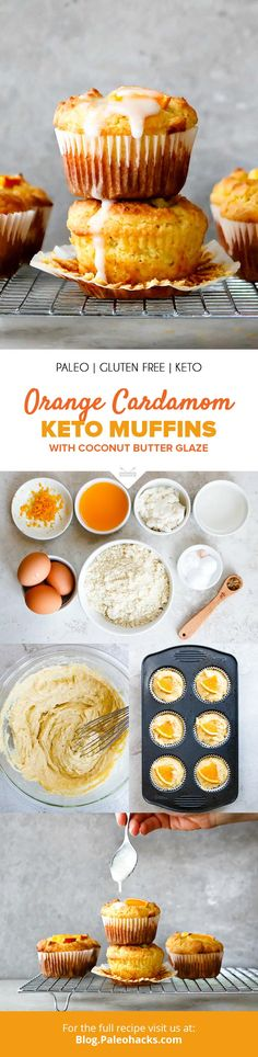 Orange Cardamom Keto Muffins with Coconut Butter Glaze - Stay in keto and eat your dessert too with these crave-worthy Orange Cardamom Keto Muffins! Keto Muffin Recipe, Muffin Recipes, Low Carb Desserts, Low Carb Recipes, Jucing Recipes, Recipies, Whole30 Recipes, Ketogenic Recipes, Low Carb