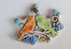 Handmade Ceramic pendant winter birds Pendant