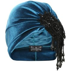 The Future Heirlooms Boutique Vivien Asymmetrical Bead Turban in Teal ($57) ❤ liked on Polyvore featuring accessories, hats, blue, blue turban, velvet turban, velvet hat, blue hat and teal hat