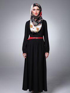 Black abaya, red belt. Great idea!