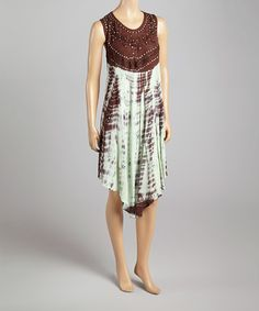 Love this Brown & Green Tie-Dye Embellished Sleeveless Dress by La Moda Clothing on #zulily! #zulilyfinds