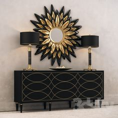 Black Console w / lamps and a mirror