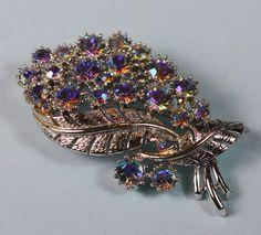 Coro AB Rhinestone Vintage Brooch Leaf Design by PastSplendors, $29.00