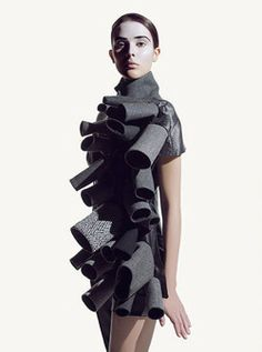 Wearable Art - short dress adorned with 3D tube shapes in varying sizes - sculptural fashion design // Matthieu Belin